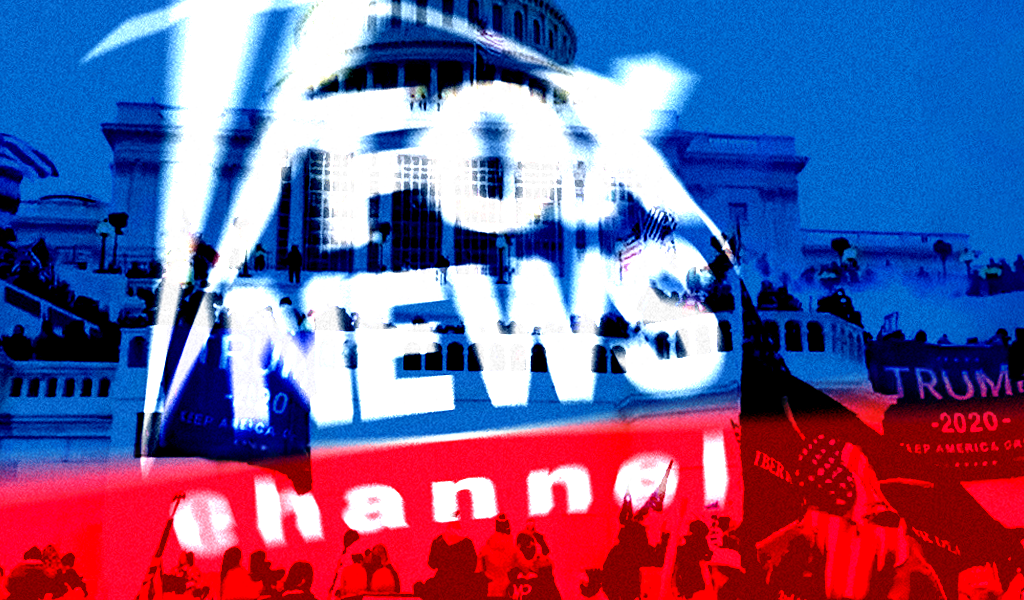 Fox News logo over the January 6 mob at the Capitol