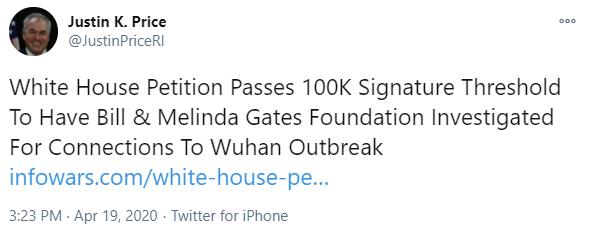 Justin Price Infowars tweet on April 19, 2020