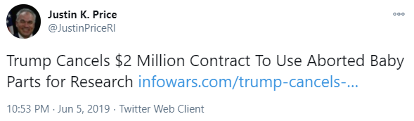 Justin Price Infowars tweet on May 6, 2019