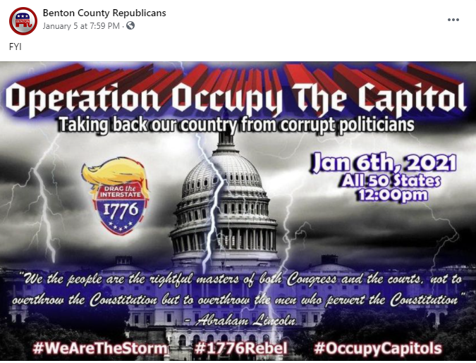 Benton County Central Committee Operation Occupy The Capitol