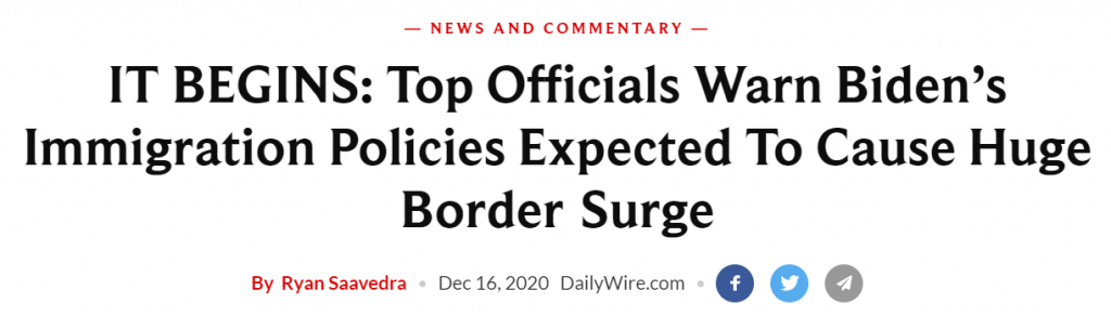 Daily Wire headline immigration