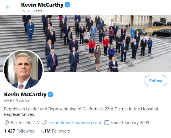 Kevin McCarthy's Twitter header picture features him alongside Republicans including Marjorie Taylor Greene