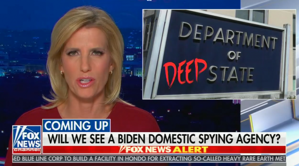 """chyron reads, """"WILL WE SEE A BIDEN DOMESTIC SPYING AGENCY?"""""""