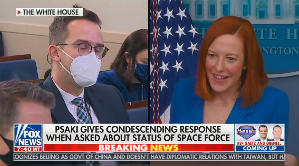 """chyron reads, """"PSAKI GIVES CONDESCENDING RESPONSE WHEN ASKED ABOUT STATUS OF SPACE FORCE"""""""
