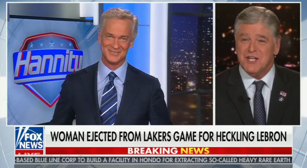 """chyron reads, """"WOMAN EJECTED FROM LAKERS GAME FOR HECKLING LEBRON"""""""