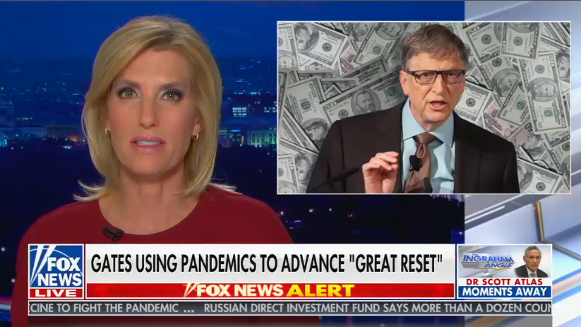 """chyron reads, """"GATES USING PANDEMIC TO ADVANCE 'GREAT RESET'"""""""