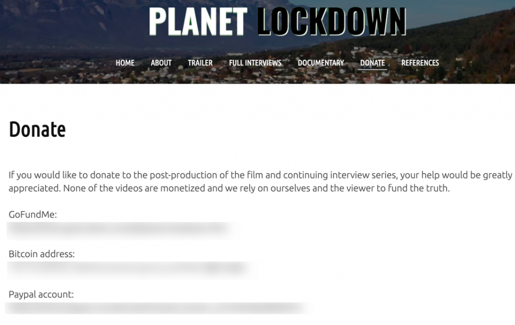 Planet Lockdown donate page