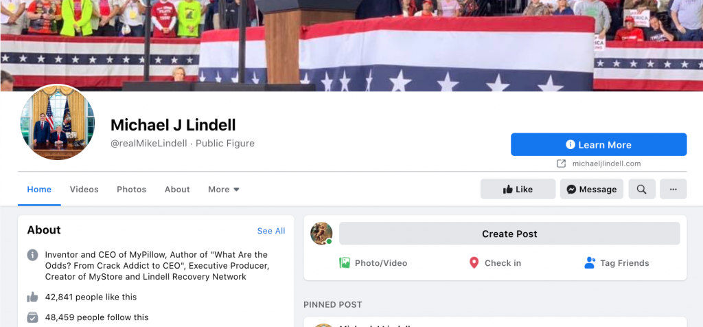 Lindell professional Facebook page