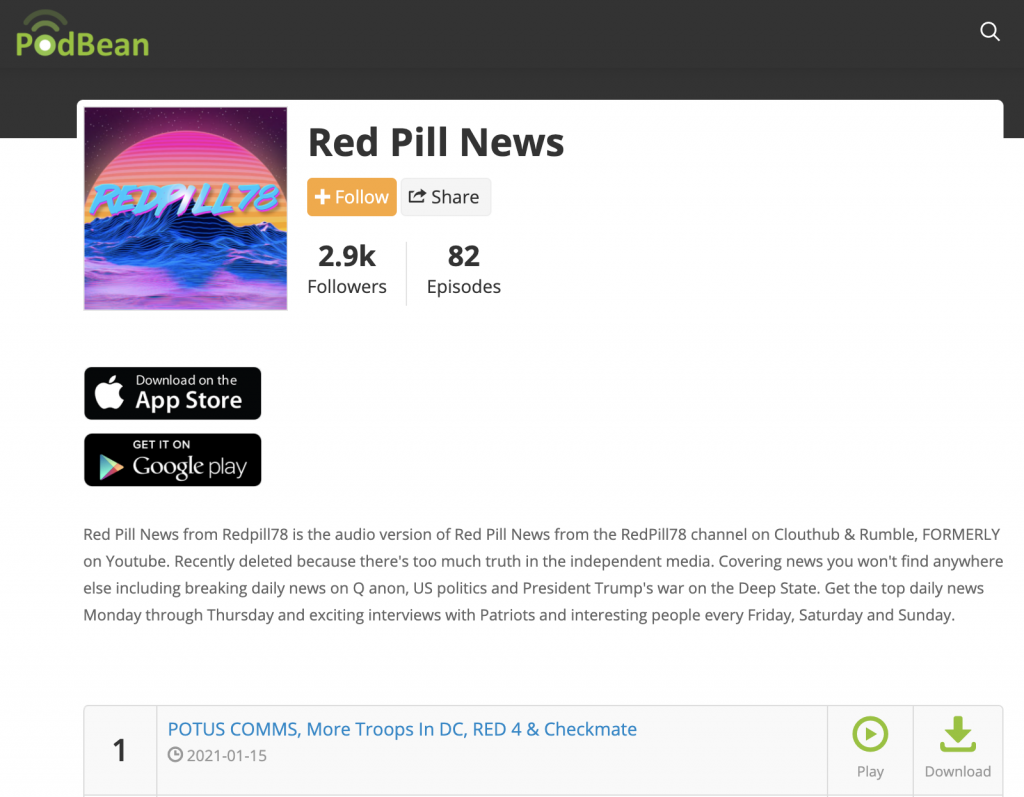 Red Pill News: QAnon podcast previously banned by YouTube. (Podbean distributes 82 episodes, hosted by Megaphone.fm)