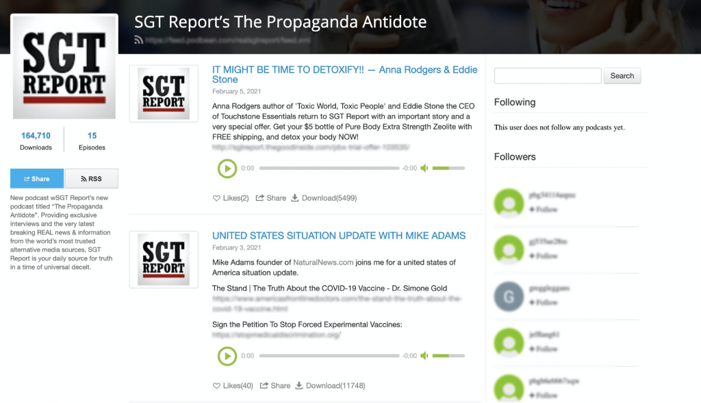 SGT Report: Popular QAnon podcast previously banned from YouTube and Patreon. (164,000 downloads, 15 episodes)