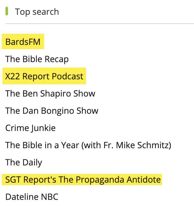 """Top search"" podcasts on Podbean's desktop client"