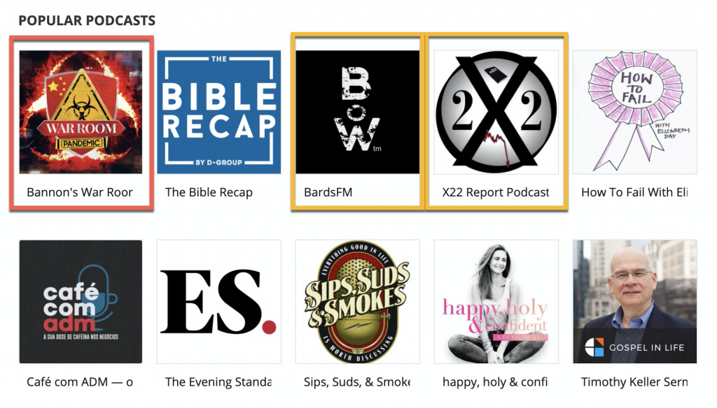 Popular podcasts on Podbean's Discovery page