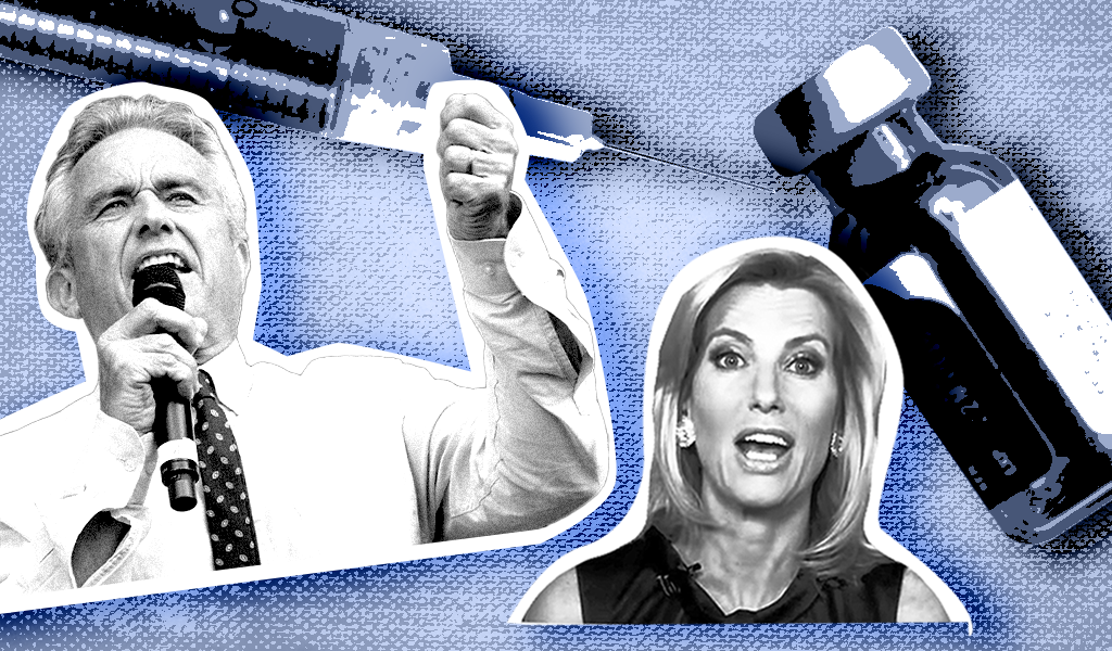 Laura Ingraham and Robert F. Kennedy Jr, with a syringe