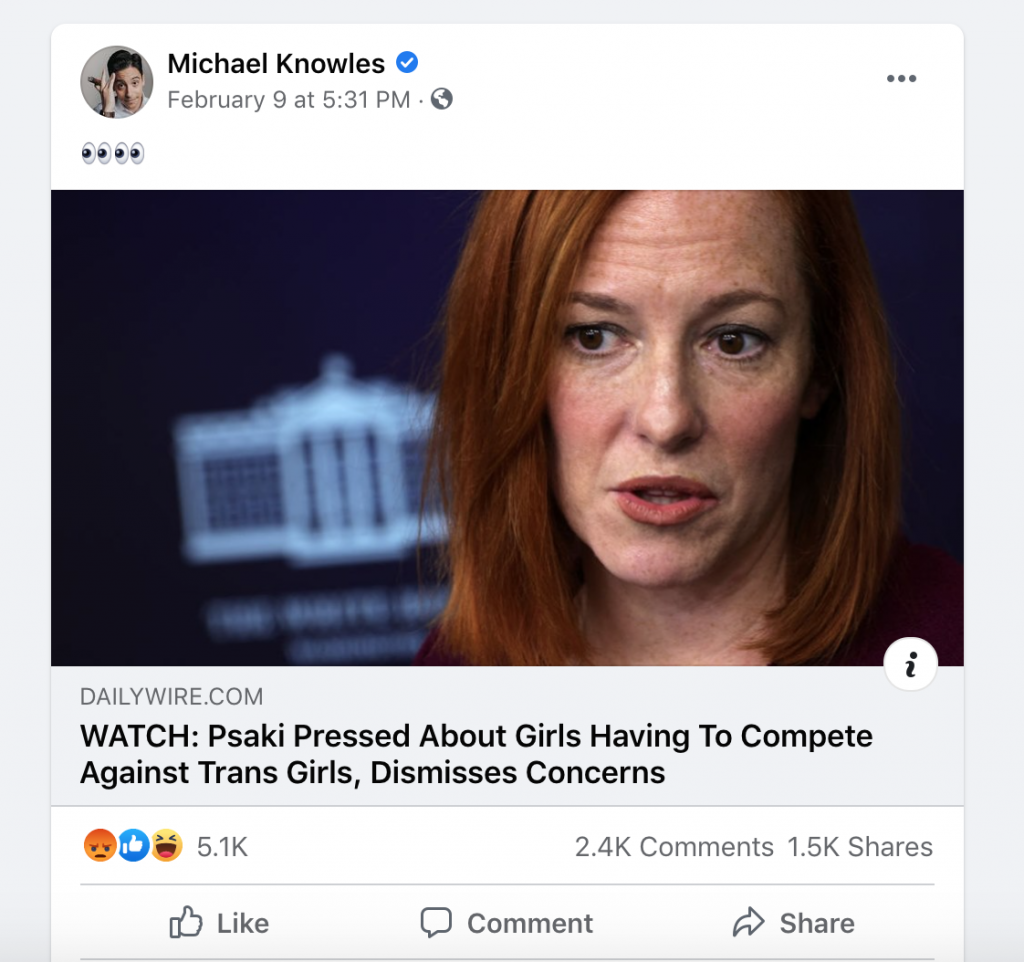 Knowles FB engagement WH briefing