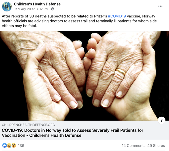 Facebook vaccine misinformation