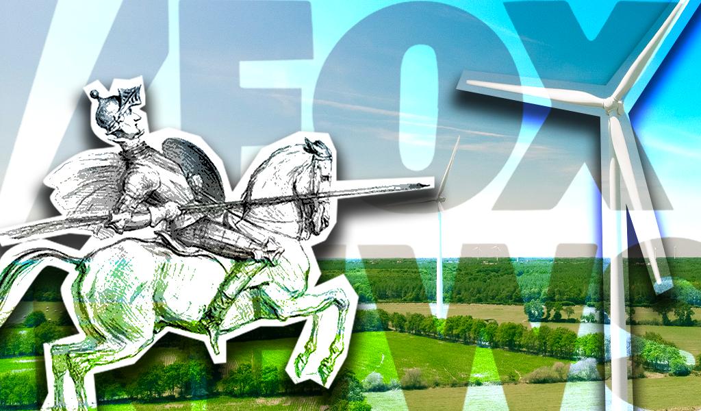 Fox wind turbines don quixote