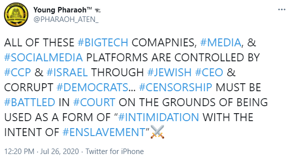 "Young Pharaoh: ""ALL OF THESE #BIGTECH COMAPNIES, #MEDIA, & #SOCIALMEDIA PLATFORMS ARE CONTROLLED BY #CCP & #ISRAEL THROUGH #JEWISH #CEO & CORRUPT #DEMOCRATS"""