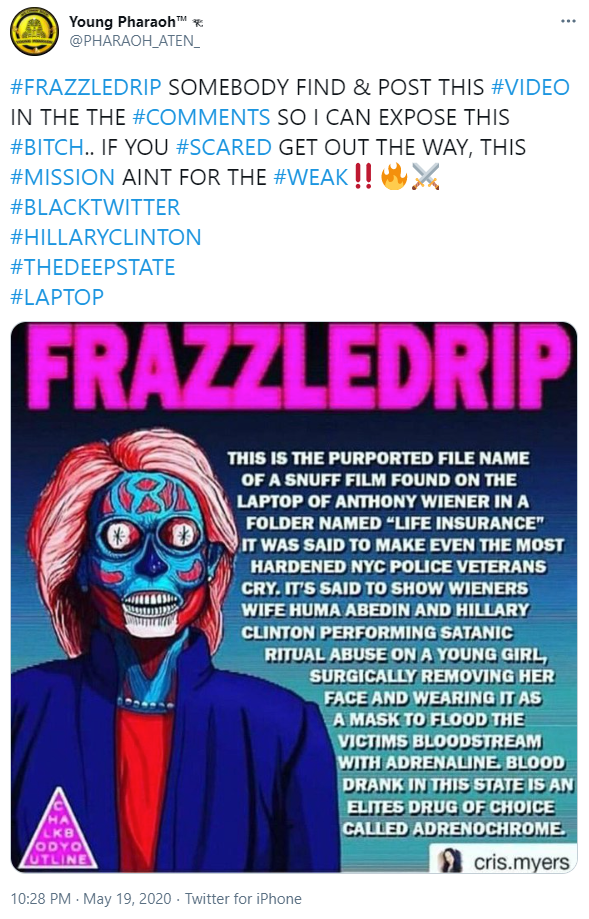 "Young Pharaoh promotes ""Frazzledrip"" meme"