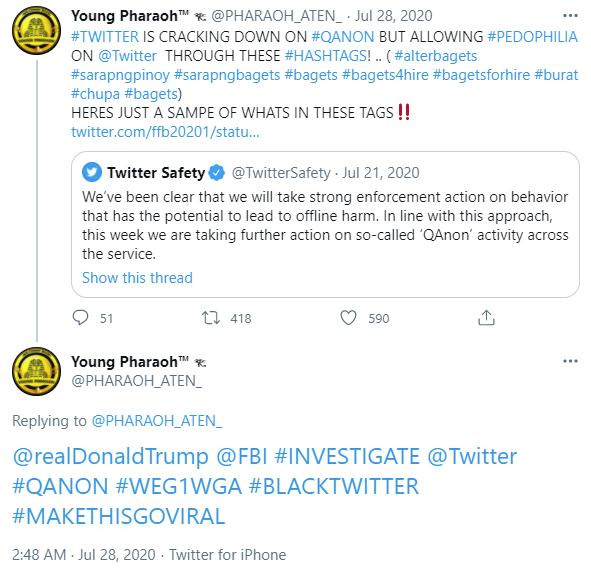 "Young Pharaoh: ""@realDonaldTrump @FBI #INVESTIGATE @Twitter  #QANON #WEG1WGA"""