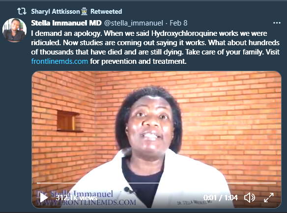 """Stella Immanuel: """"I demand an apology. When we said Hydroxychloroquine works we were ridiculed. Now studies are coming out saying it works. What about hundreds of thousands that have died and are still dying."""""""