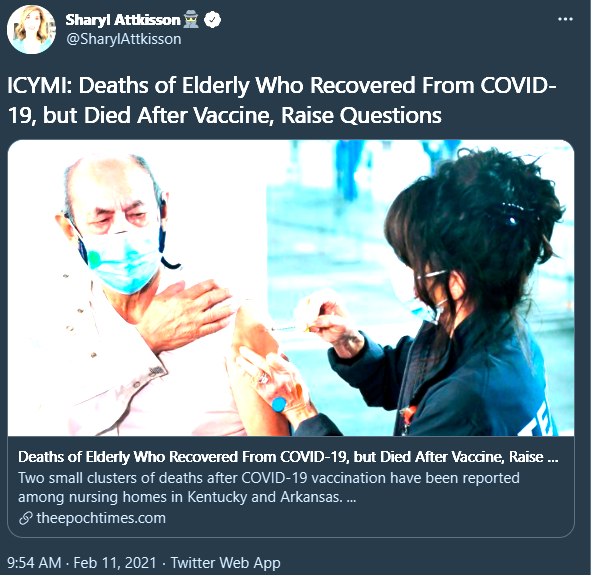 """Sharyl Attkisson: """"ICYMI: Deaths of elderly who recovered from COVID-19, but died after vaccine, raise questions"""""""