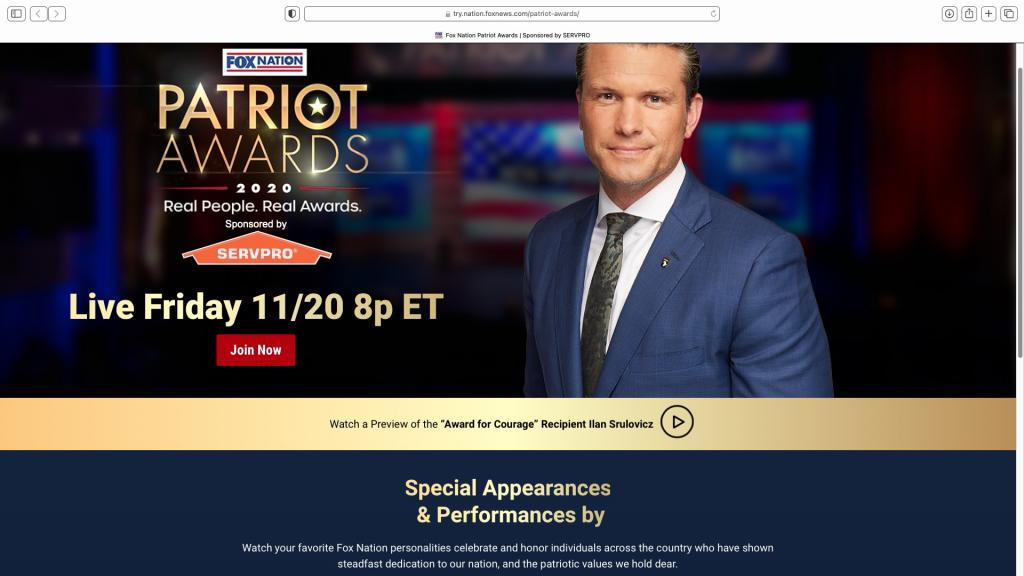 screen grab - Fox Nation Patriot Awards 2020