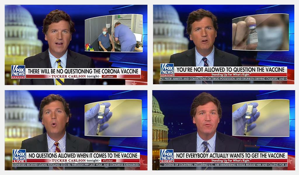 4 screenshots of Tucker carlson covering coronavirus