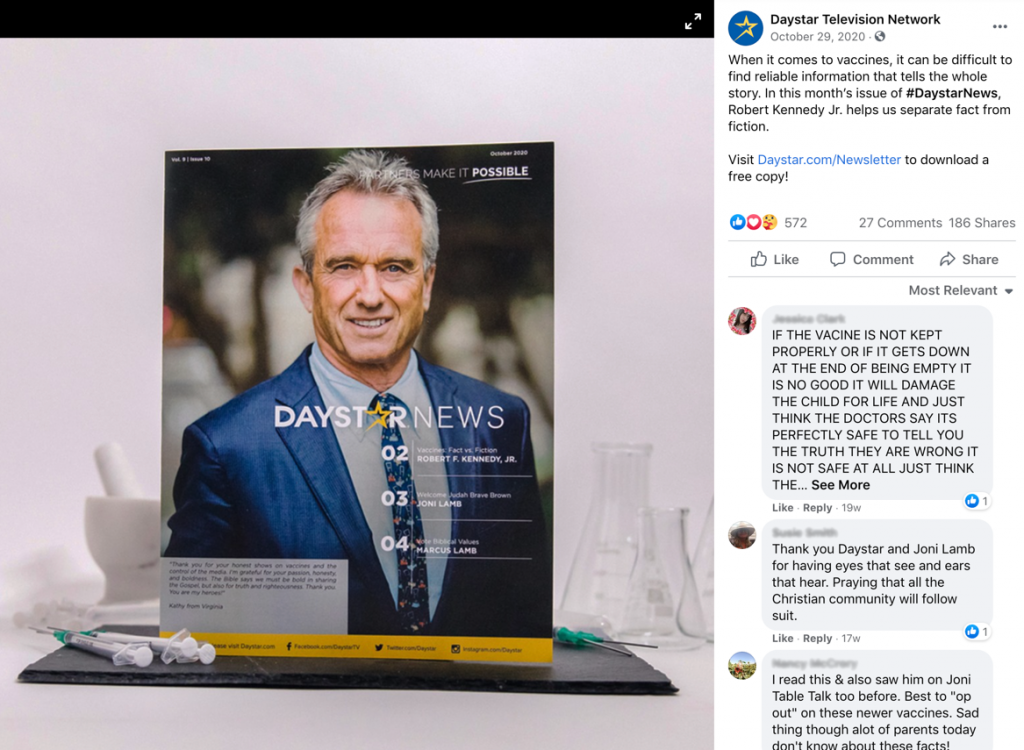 Robert F. Kennedy, Jr., on the cover of Daystar's newsletter