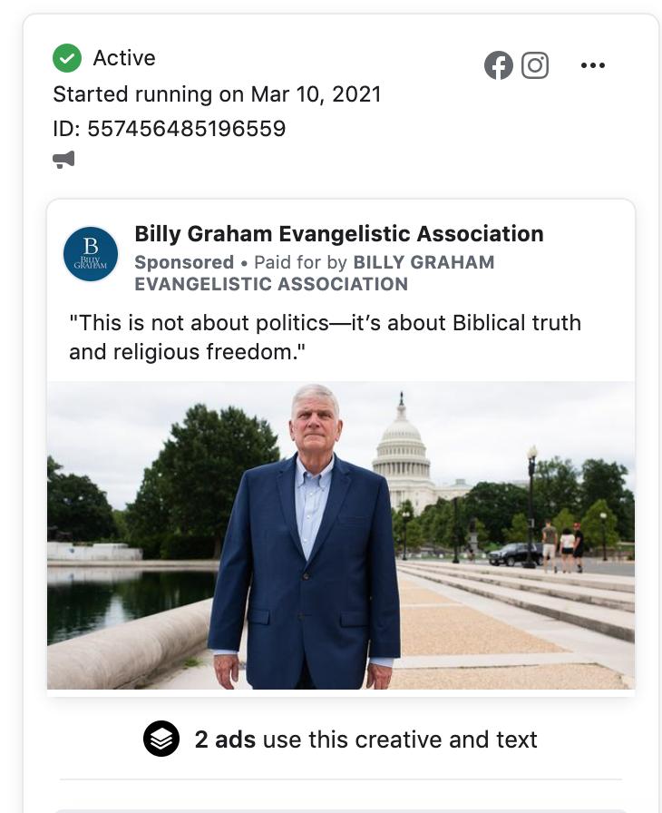 Billy Graham Evangelistic Association FB ads 3.16.21