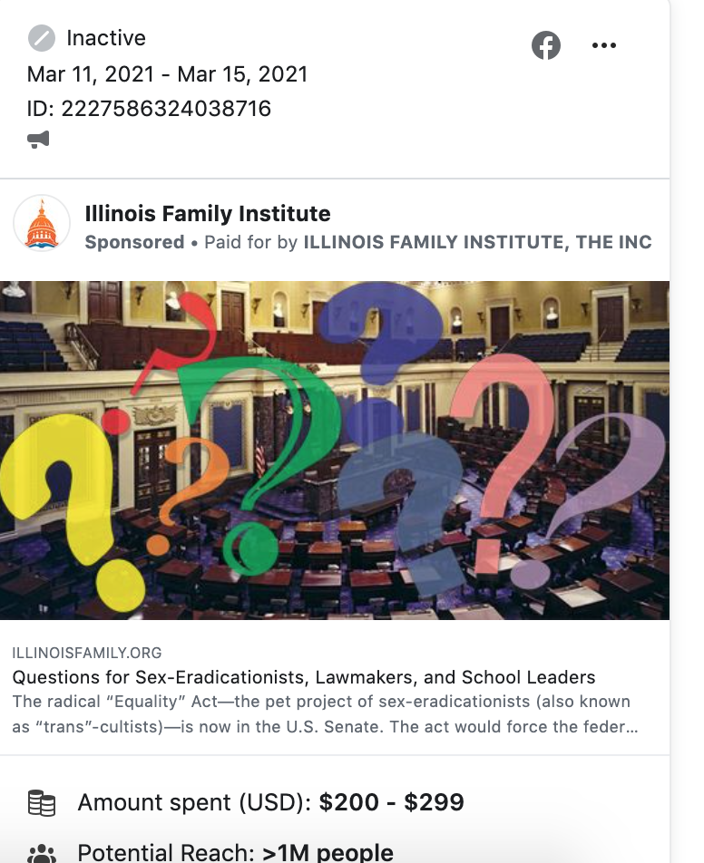 IL Family Institute Equality Act FB ads 3.16.21