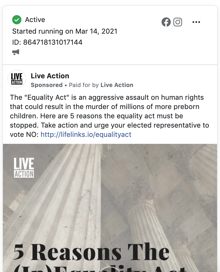 Live Action Equality Act FB ads 3.16.21