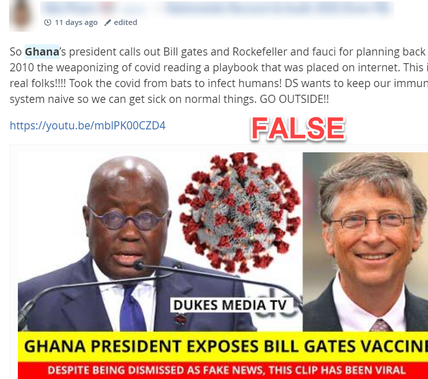 MeWe post spreading COVID-19 misinformation