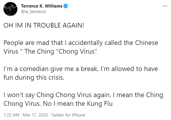 "Terrence K. Williams posts racist ""kung flu"" tweet on March 17, 2020"