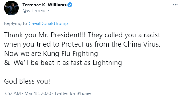 "Terrence K. Williams posts racist ""kung flu"" tweet on March 18, 2020"