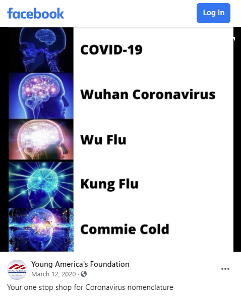 "Young America Foundation posts racist ""kung flu"" meme on Facebook"