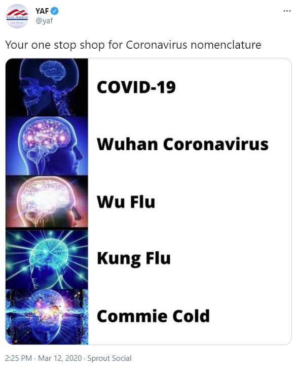 "Young America Foundation posts racist ""kung flu"" meme"