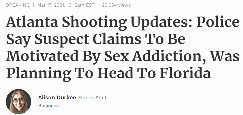 Forbes headline on Atlanta shooting