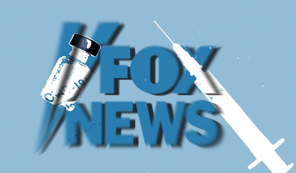 Fox news logo with a syringe