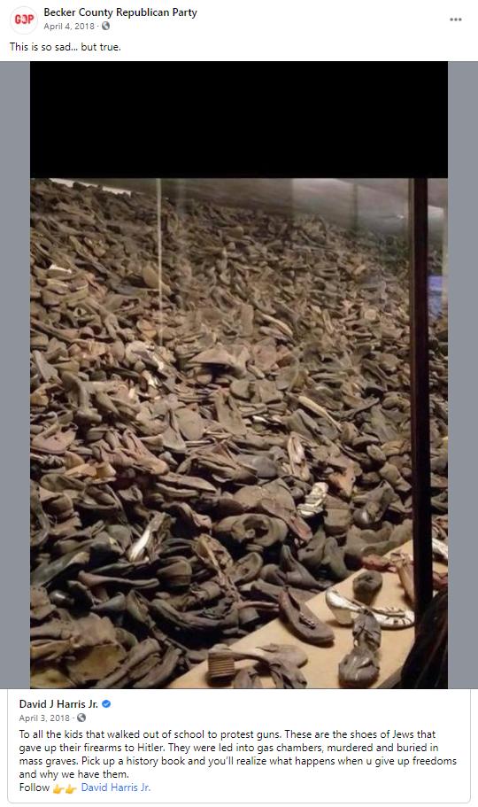 False gun meme about the Holocaust: Becker County Republican Party