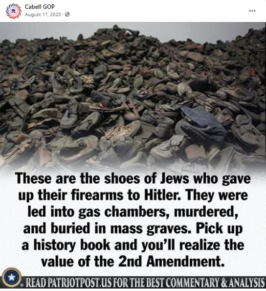 False gun meme about the Holocaust: Cabell GOP