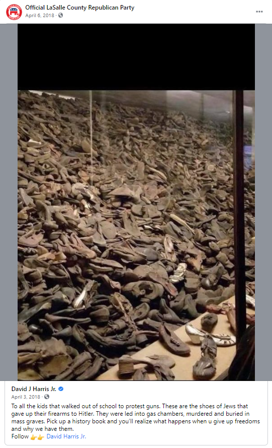 False gun meme about the Holocaust: LaSalle County Republican Party