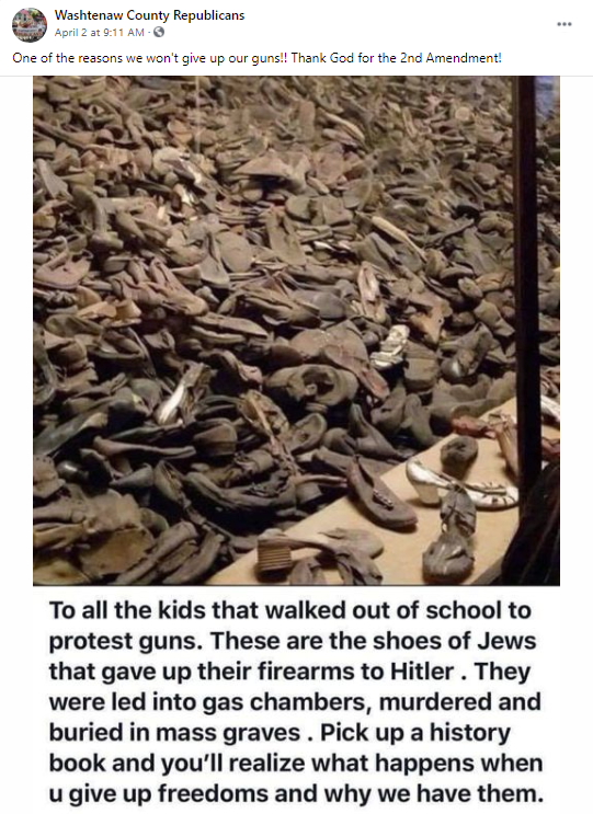 False gun meme about the Holocaust: Washtenaw County Republican Committee