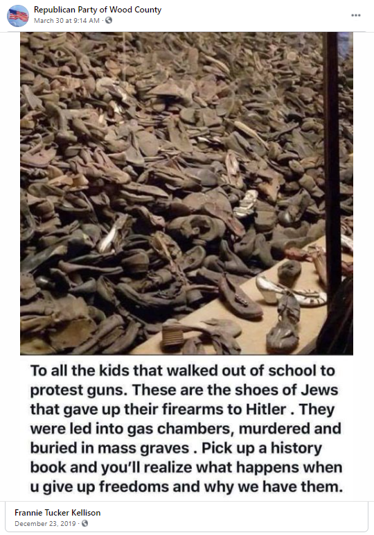 False gun meme about the Holocaust: Republican Party of Wood County