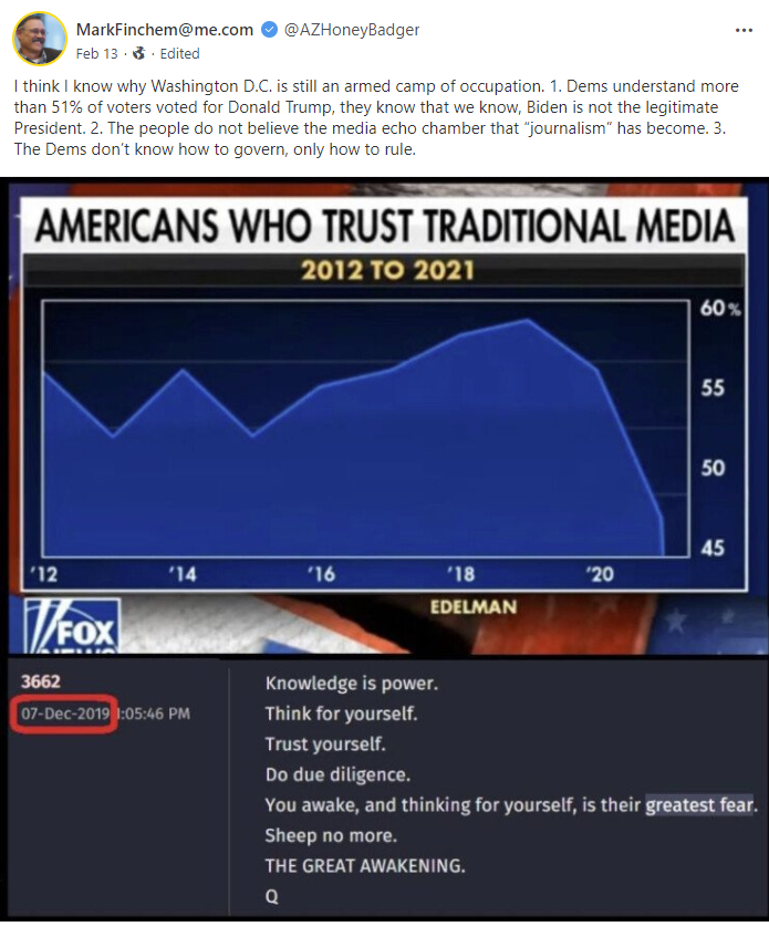 Mark Finchem QAnon post about the media
