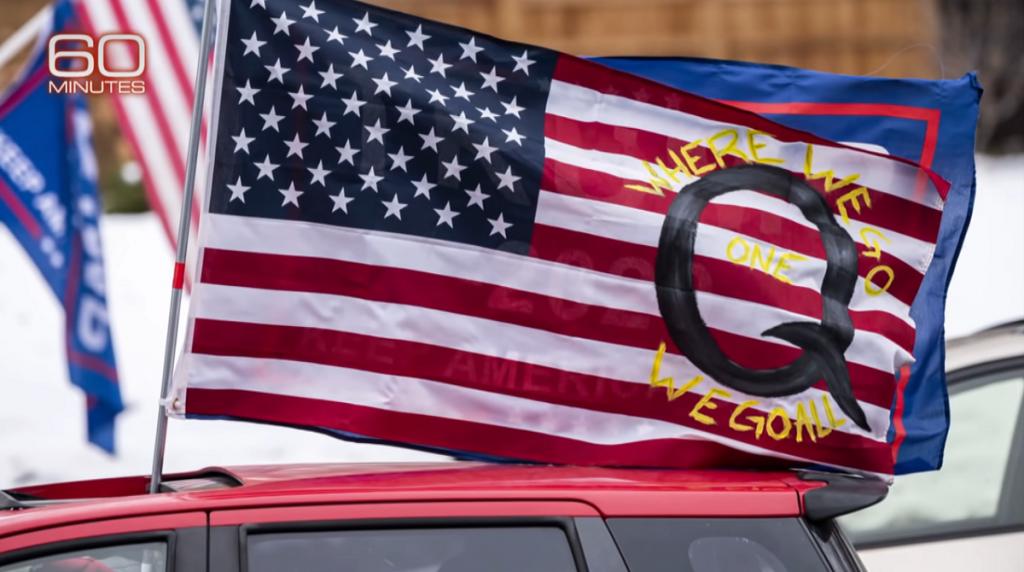 60 Minutes QAnon on the US flag screenshot