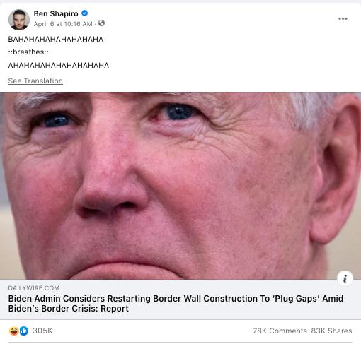 screenshot of a Facebook post from Ben Shapiro