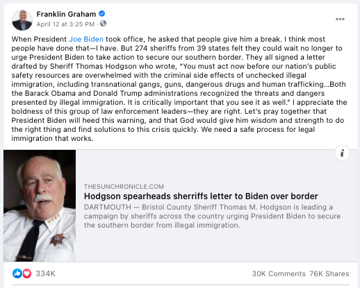 screenshot of a Facebook posts from Franklin Graham
