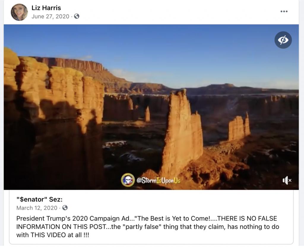 QAnon video on Harris' fb page