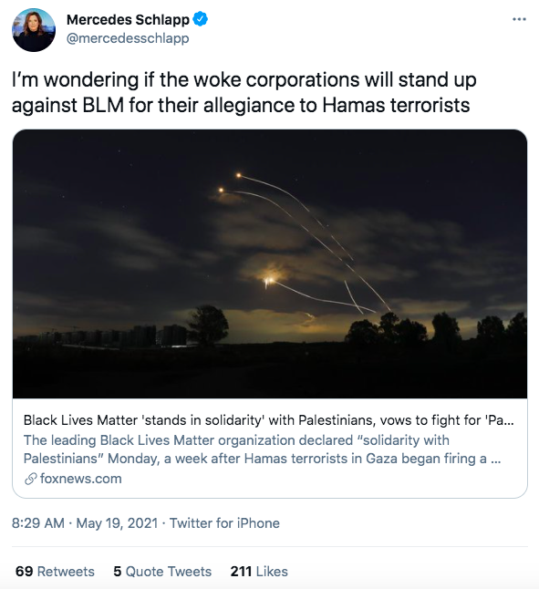 """Mercedes Schlapp tweeting """"I'm wondering if the woke corporations will stand up against BLM for their allegiance to Hamas terrorists"""""""