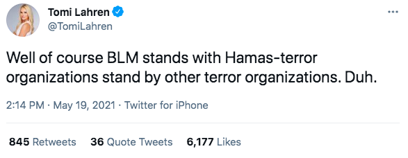 """Tom Lahren tweeting """"Well of course BLM stands with Hamas-terror organizations stand by other terror organizations. Duh."""""""